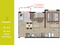Planta 04 - 2 dorm 34m² - garden