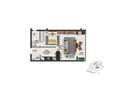 Planta 01 - 1 dorm 48 15m² - studio