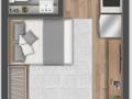 Planta 01 - 1 dorm 26m² - studio