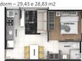 Planta 02 - 1 dorm 29 43m²