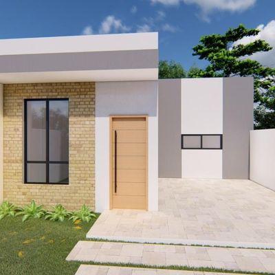 Casa nova, 79,88m², 1 suíte + 2 quartos, terreno livre. Próx. Acesso pela SC 416