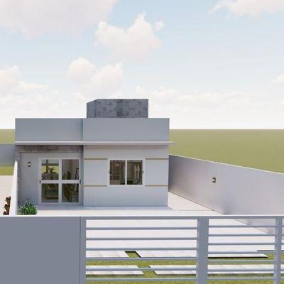 Casa nova c/49,57m², 2 quartos, terreno livre. Rua 1340. Balneário Itapoá