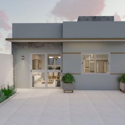 Casa nova c/ 49,57m², 2 quartos, amplo terreno livre. Balneário Itapoá