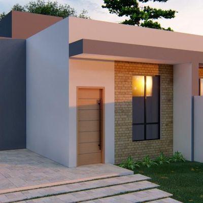Casa moderna, c/ 1 suíte + 2 quartos, 79,88m², terreno livre. Balneário Itapoá