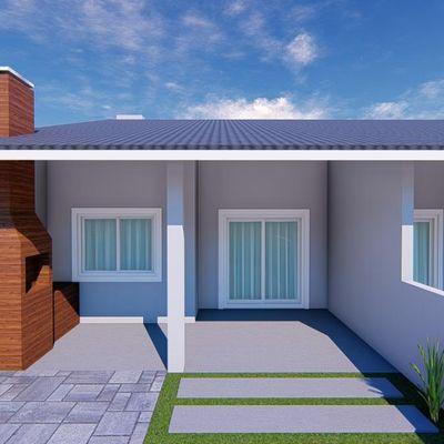 Casa nova, c/ 72m², 01 suíte + 01 quarto, 600m do mar na Rua 1720 - Baln. Princesa do Mar