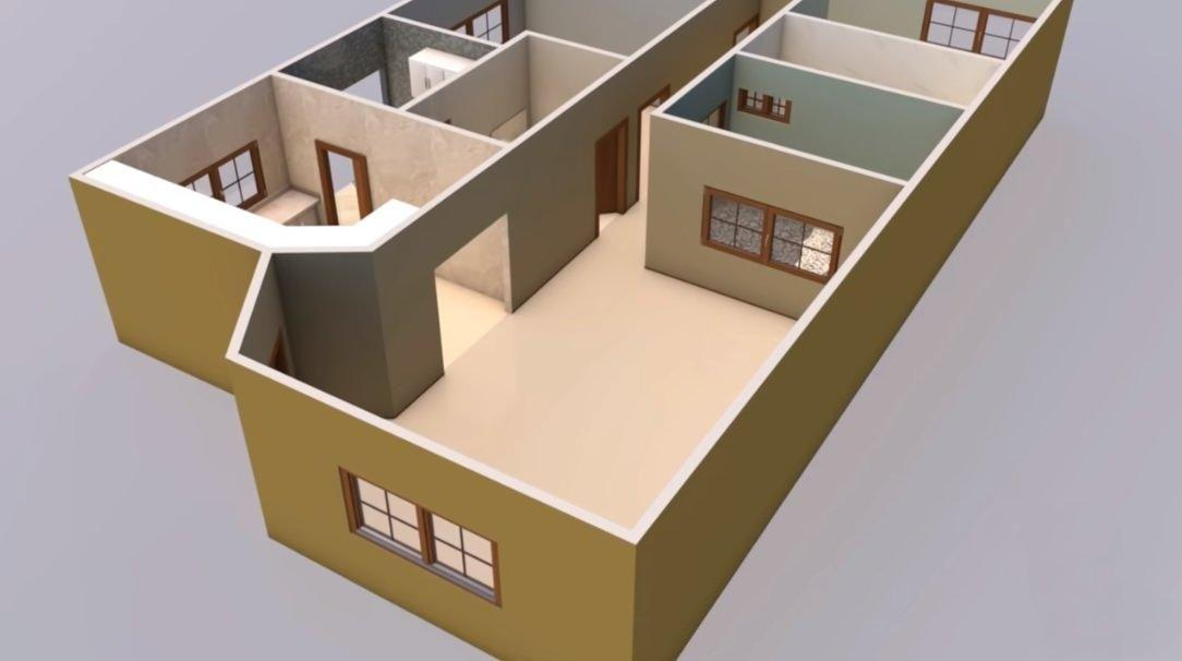 Modelo de planta de casa em 3D com três quartos
