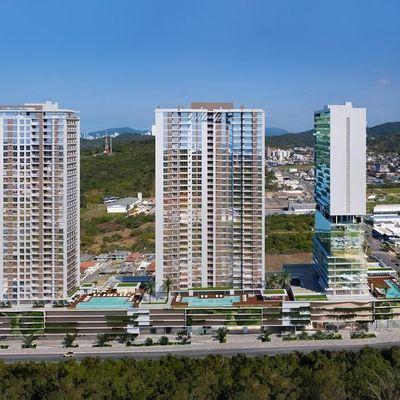 Apartamentos de 76m² a 121m² com 02 ou 03 suítes e vagas de garagem privativas na Praia Brava